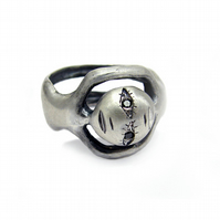 silver twin ring, oxidised with black diamond eyes