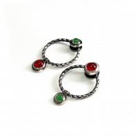 silver asymmetrical earrings, twisted hoops green and red stones