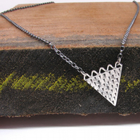 inca rustic silver triangle necklace, wave and triangles