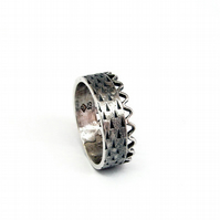 inca rustic oxidised silver band, crown, wave and triangles unisex ring