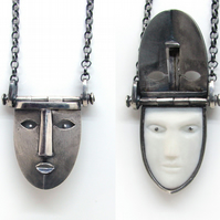 secret locket mask pendant, silver unisex mysterious necklace