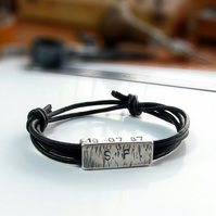 Personalised mens silver leather bracelet, reversible bracelet ,unisex stamped