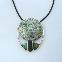 Silver tree pendant with colourful resin and wood