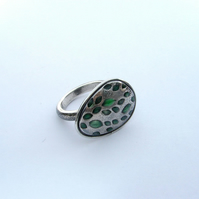 Green leaf ring in silver with green resin highlights