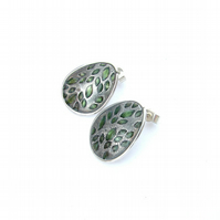 Green leaves large studs in silver with green resin highlights
