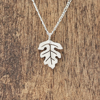 Silver Hawthorn Necklace - Tiny Leaf Necklace - Silver Leaf Necklace