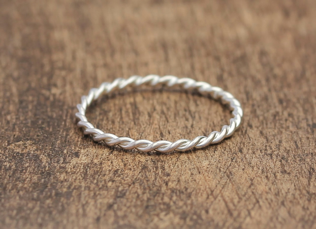 Silver Stacking Ring - Silver Twist Ring - Silver Wedding Ring