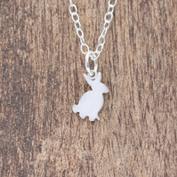 Silver Bunny Necklace - Tiny Silver Necklace - Bunny Rabbit Necklace
