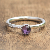 Amethyst Stacking Ring - SIlver Stacking Ring - Silver Amethyst Ring