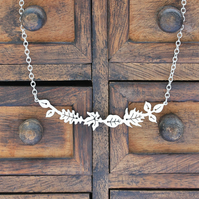 Silver Leaf Necklace - Silver Floral Necklace - Silver Bar Necklace
