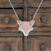 Silver Fox Necklace - Silver and Copper Fox - Floral Fox Necklace