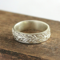 Silver Wedding Ring - Silver Woodland Ring - Handmade Silver Band