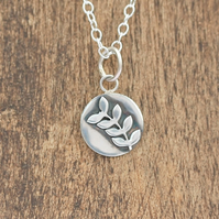 Silver Floral Necklace - Rowan Leaf Necklace - Silver Rowan Necklace
