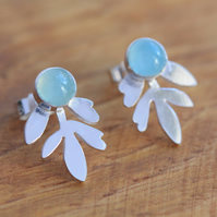 Silver Leaf Earrings - Silver Aqua Blue Earrings - Silver Stud Earrings