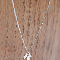 Tiny Leaf Necklace - Silver Maple Leaf - Handmade Leaf Necklace
