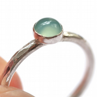 Silver Stacking Ring - Aqua Chalcedony Stacking Ring - Stackable Ring