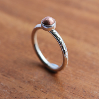 Silver and Copper ring - Silver stacking ring - Copper Nugget Ring