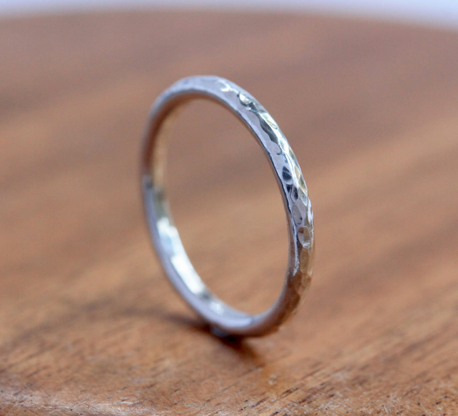 Silver Stacking Ring - Silver Hammered Ring - Hammered Silver Band