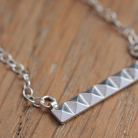 Silver Pyramid Necklace - Silver Bar Necklace - Handmade Silver Necklace