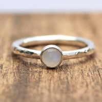 Silver Moonstone Ring - Moonstone Stacking Ring - Silver Stacking Ring