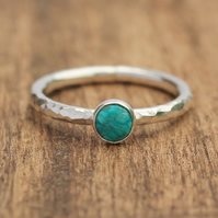Silver Turquoise Ring - Silver Stacking Ring - Turquoise Stacking Ring