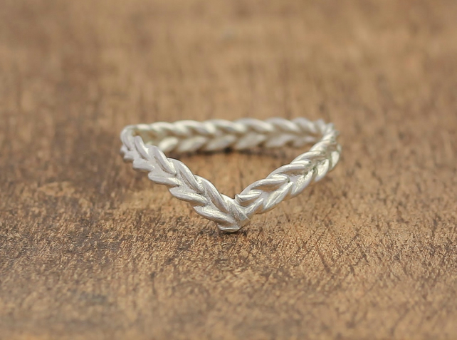 Silver Wishbone Ring - Silver Wedding Ring - Silver Stacking Ring