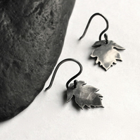 Silver Leaf Earrings - Silver Hook Earings - Oxidised Silver Earrings