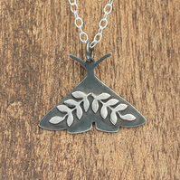 Silver Moth Necklace - Floral Silver Moth Necklace - Midnight Moth Necklace