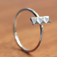 Silver Stacking Ring - Silver Pyramid Ring - Sterling Silver Ring