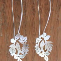 Silver Leaf Earrings - Silver Drop Earrings - Silver Hook Earrings