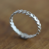 Silver Stacking Ring - Silver Wheat Ring - Silver Wedding Ring