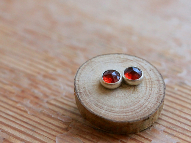 Garnet Stud Earrings - Garnet and Silver Earrings - Handmade Garnet Earrings