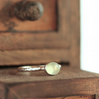 Silver Prehnite Ring - Silver Stacking Ring - Prehnite Stacking Ring