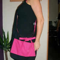 Pink And Black Reversible Shoulder Bag