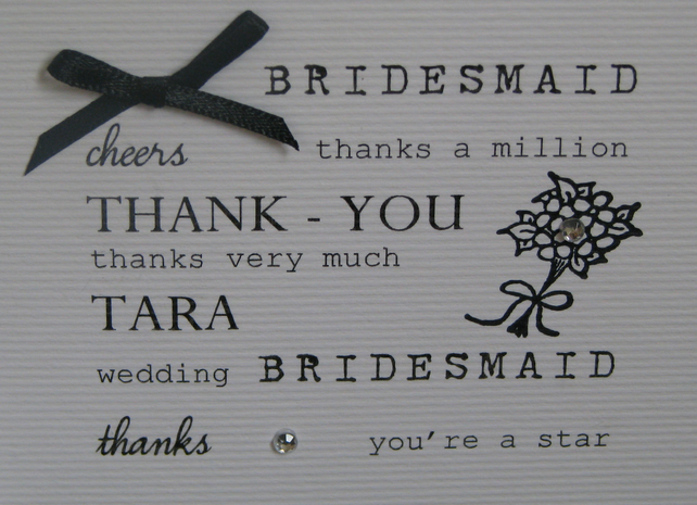 Personalised Bridesmaid Thank You Card Folksy