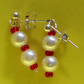 SUMMER TIME BARGAIN - Cream Imitation Pearl and Red Colour Bead Stud Earrings