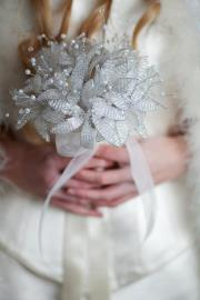 Beaded lilly wedding bouquet