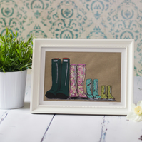 Large original framed, mixed media textile art 'Family of Four Wellingtons'