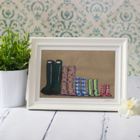Large original framed, mixed media textile art 'Family of Five Wellingtons'