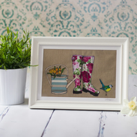 Large original framed, mixed media textile art 'Spring Wellingtons'