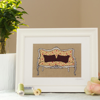 Original framed, mixed media textile art 'Vintage Love Seat'
