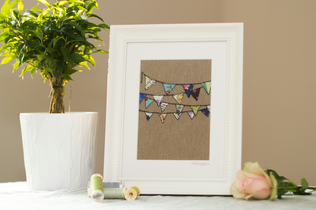 Original framed, mixed media textile art 'Bunting'