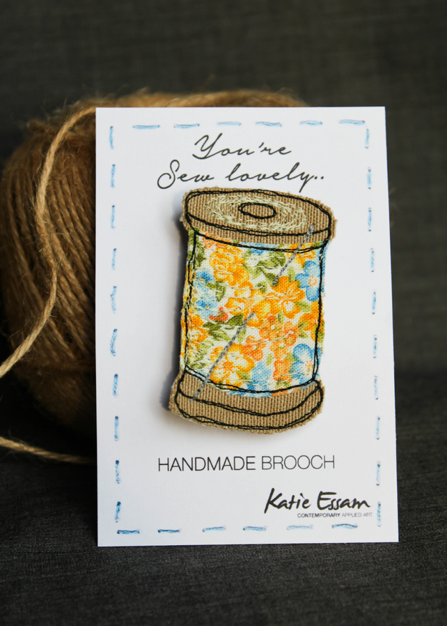 sewing themed brooch