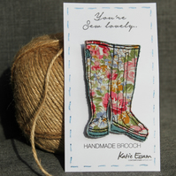 Textile Wellie Boot Brooch