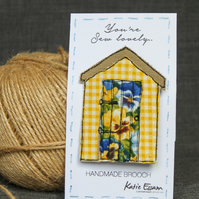 Textile Beach Hut Brooch