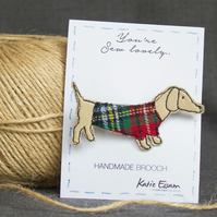 Textile Sausage Dog Brooch