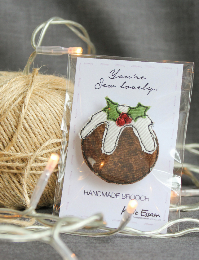Textile Christmas Pudding Brooch