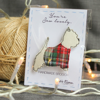 Textile Westie Dog Brooch