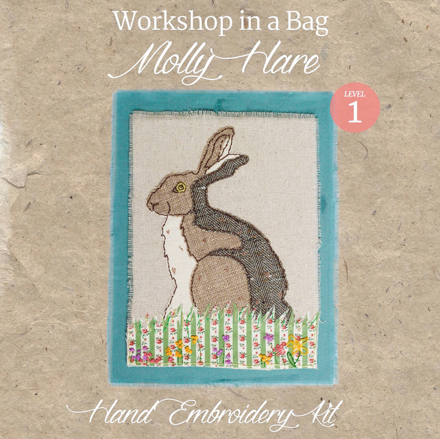 'Workshop  in a Bag' Molly Hare, Hand Embroidery Textile Art Kit