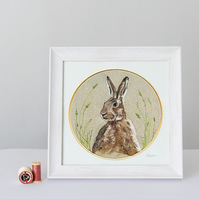 Needle Felted Hare in Hoop, Framed Giclee print